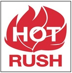Hot Rush, 4 X 4 Pressure sensitive paper labels 500/roll