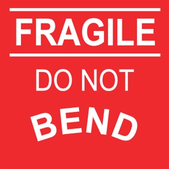 Fragile Do Not Bend, 4 X 4 Pressure sensitive paper labels 500/roll
