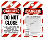 DANGER DO NOT CLOSE PHOTO LOCKOUT TAG - Self Laminating Photo ID Lockout Tag