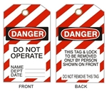 "DANGER DO NOT OPERATE LOCKOUT Tags 6-1/8"" X 3"" Vinyl"