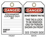 "DANGER EQUIPMENT LOCKED OUT BY Tags - 6-1/8"" X 3"""