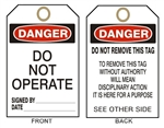 "DANGER DO NOT OPERATE Tags - 6"" X 3"" Card Stock or Rigid Vinyl"