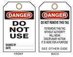 "DANGER DO NOT USE - Accident Prevention Tag - 6-1/8"" X 3"""