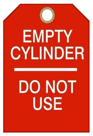 Empty Cylinder Tags Do Not Use