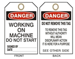 "DANGER WORKING ON MACHINE DO NOT START - Accident Prevention Tags - 6-1/8"" X 3"""