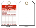 "EQUIPMENT INSPECTION TAG - Record Tags - 6"" X 3"" Choose from Card Stock or Rigid Vinyl"