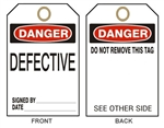 DANGER DEFECTIVE DO NOT REMOVE THIS Tag - Accident Prevention Tags - Available in 2 Sizes