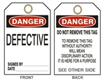 DANGER DEFECTIVE SEE OTHER SIDE Tags - Accident Prevention Tags - Available in 2 Sizes