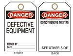 "DANGER DEFECTIVE EQUIPMENT - Accident Prevention Tags - 6-1/8"" X 3"""