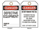 "DANGER DEFECTIVE EQUIPMENT, Accident Prevention Tags - 6-1/8"" X 3"""
