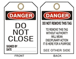 DANGER DO NOT CLOSE - Accident Prevention Tags - Available in 2 Sizes