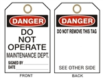 "DANGER DO NOT OPERATE MAINTENANCE DEPARTMENT TAG - Accident Prevention Tags - 6-1/8"" X 3"""