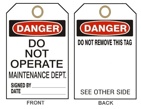 "DANGER DO NOT OPERATE MAINTENANCE DEPARTMENT TAG - Accident Prevention Tags - 6"" X 3"" Card Stock or Rigid Vinyl"