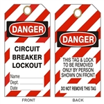 "DANGER CIRCUIT BREAKER LOCKOUT TAG - Accident Prevention Tags - 6-1/8"" X 3"""