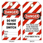 "DANGER DO NOT THROW SWITCH LOCKOUT TAG- Accident Prevention Tags - 6-1/8"" X 3"""
