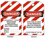 "DANGER LOCKOUT THIS MACHINE BEFORE ATTEMPTING ANY REPAIRS Tags - 6"" X 3"" Choose from Card Stock or Rigid vinyl"