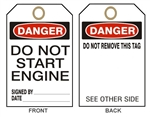 "Accident Prevention DANGER DO NOT START ENGINE Tags - 6"" X 3"" Card Stock or Rigid Vinyl"