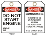 "DANGER DO NOT START ENGINE - Accident Prevention Tags - 6"" X 3"" Choose Card Stock or Rigid Vinyl"