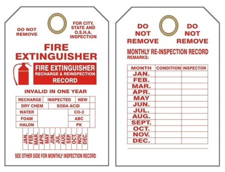 Monthly fire extinguisher inspection tags for Fire extinguisher inspection tag template