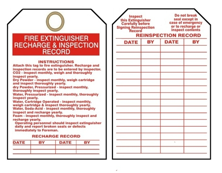 Fire Extinguisher Tags I Recharge Amp Inspection Record 25 Pk