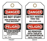 "DANGER DO NOT START TAG - Bilingual Accident Prevention Tags - 6-1/8"" X 3"""