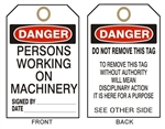 DANGER  PERSONS WORKING ON MACHINERY - Accident Prevention Tags - Available in 2 Sizes