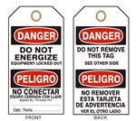 "DANGER DO NOT ENERGIZE TAG - Bilingual Accident Prevention Tags - 6"" X 3"" Choose from Card Stock or Rigid Vinyl"
