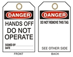 DANGER HANDS OFF DO NOT OPERATE - Accident Prevention Tags - Available in 2 Sizes