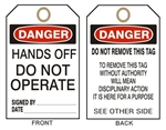 "DANGER HANDS OFF DO NOT OPERATE Accident Prevention Tags - 6-1/8"" X 3"""