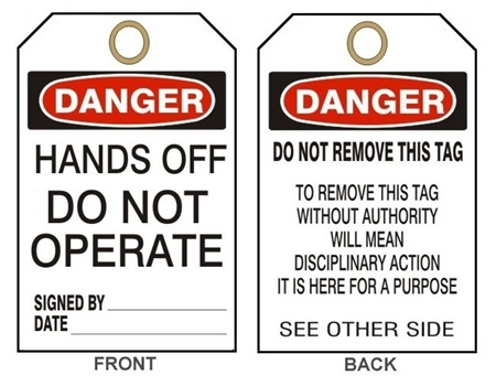 "DANGER HANDS OFF DO NOT OPERATE Accident Prevention Tags - 6"" X 3"" Card Stock or Rigid Vinyl"