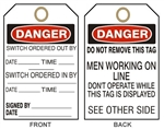 "DANGER MEN WORKING ON LINE TAG - Switch Ordered Out By Tags - 6"" X 3"" Choose Card Stock or Rigid Vinyl"