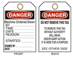 "DANGER MACHINE ORDERED DOWN TAG - Accident Prevention Tags - 6"" X 3"" Choose from Card Stock or Rigid Vinyl"