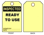 "Inspected- Ready To Use Equipment Status Tag - 6"" X 3"" Choose from Card Stock or Rigid Vinyl"