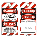 DANGER DO NOT OPERATE EQUIPMENT TAG-OUT TAG - Bilingual Accident Prevention Tags - Available in 2 Sizes