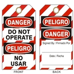 "BILINGUAL DANGER DO NOT OPERATE LOCKOUT Tags - Standard - 6 1/8"" X 3"" No Grommet or - 6 1/8"" X 3"" with Grommet"