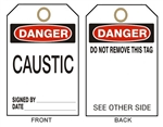 "DANGER CAUSTIC - Accident Prevention Tags - 6-1/8"" X 3"""