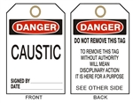 DANGER CAUSTIC - Accident Prevention Tags - Available in 2 Sizes
