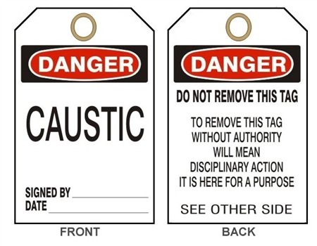 DANGER CAUSTIC - Accident Prevention Tags - Available in Card Stock or Rigid Vinyl