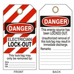 "DANGER ELECTRICIAN LOCK OUT Tags - This Energy Source Has Been Locked Out Tag - 6"" X 3"" Choose from Card Stock or Rigid Vinyl"