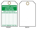 "EMERGENCY SHOWER and EYEWASH INSPECTION Tags - 6"" X 3"" Choose from Rigid Vinyl or Card Stock"