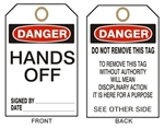 "DANGER HANDS OFF Accident Prevention Tags - 6-1/8"" X 3"""
