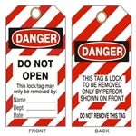 "DANGER DO NOT OPEN LOCKOUT Tags - Accident Prevention Tags - 6-1/8"" X 3"""