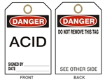 "DANGER ACID - Accident Prevention Tags - 6-1/8"" X 3"""