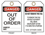 "DANGER OUT OF ORDER - Accident Prevention Tags - 6-1/8"" X 3"""