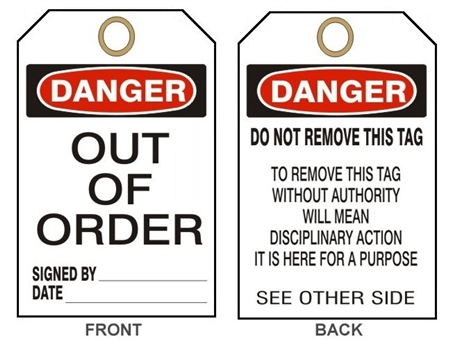"DANGER OUT OF ORDER - Accident Prevention Tags - 6"" X 3"" Choose from Card Stock or Rigid Vinyl"
