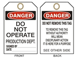 "DANGER DO NOT OPERATE PRODUCTION DEPARTMENT - Accident Prevention Tags - 6-1/8"" X 3"""