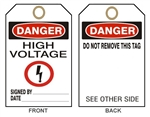 "DANGER HIGH VOLTAGE Accident Prevention Tags - 6"" X 3"" Choose from Card Stock or Rigid Vinyl"