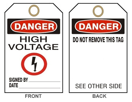 "DANGER HIGH VOLTAGE Accident Prevention Tags - 6-1/8"" X 3"""