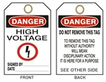 DANGER HIGH VOLTAGE Accident Prevention Tags - Available in Card Stock or Rigid Vinyl