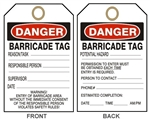 "DANGER BARRICADE, Accident Prevention Tags - 6-1/8"" X 3"""